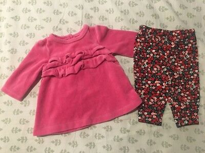 Carter's Infant Baby Girl's 2-Piece Outfit Set Size 3 Months VGUC! Velour
