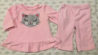 Carter's Infant Baby Girl's 2-Piece Fleece Outfit Set Size 3 Months VGUC! Kitty