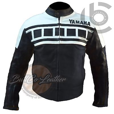 MOTORBIKE LEATHER JACKET. Yamaha-Black&White-Jacket-Motorcycle-Racing-Biker-Coat