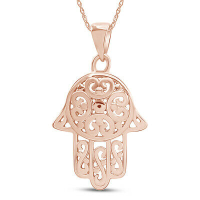 Sweet Swirl Filigree Hamsa Hand 14K Rose Gold Over Pendant Necklace