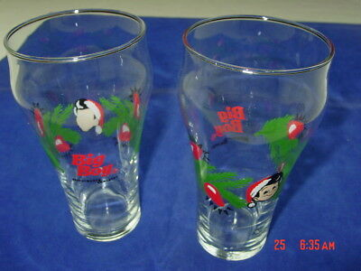 2 Vintage Big Boy Drinking Glasses Holiday Christmas Restaurant