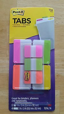 "114 3M Post-it Tabs Variety Pack 1"" & 2"" fluorescent neon Color binders planners"
