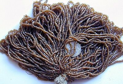 Antique Glass Faceted RICH DEEP BROWN Seed Beads MASTER HANK = 9+ Mini Hanks