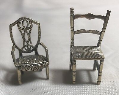 Antique Sterling Silver Miniatures Dollhouse 2 Chairs