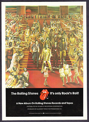 """1974 The Rolling Stones """"It's Only Rock 'n Roll"""" Album Release promo print ad"""