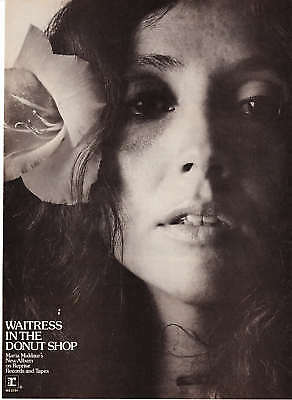 """1974 Maria Muldaur pic """"Waitress in the Donut Shop"""" Ad"""