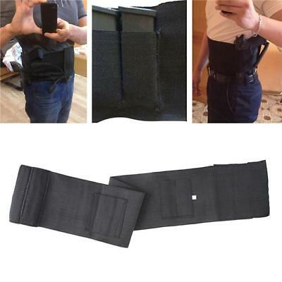Slim Concealed Carry Belly Band Pistol Gun Holster + 2 Mag Pouches Black Waist Q