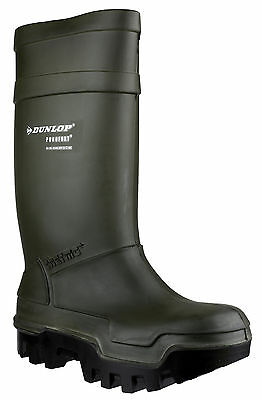 Dunlop Purofort Thermo+ Full Safety Unisex Green Pull On Wellington Boots UK4-13