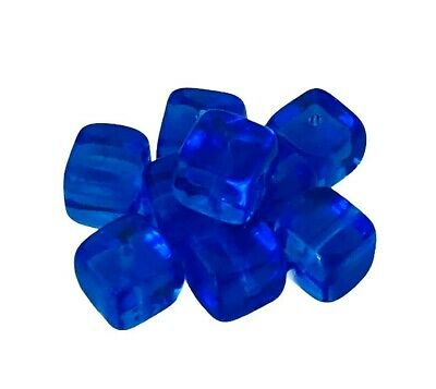 25 Sapphire Blue Preciosa Czech Glass 11x8mm Rounded Square Cube Beads