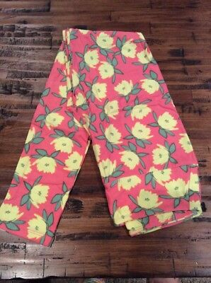 Nwt LuLaRoe Os Leggings Geometric Pink Yellow Green Water Lily Floral Flowers