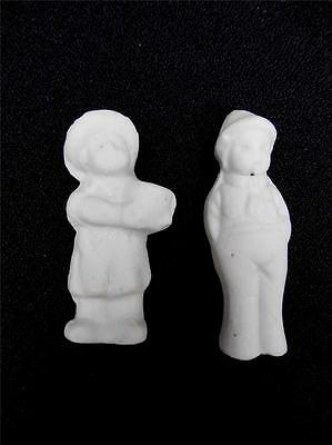 Lot of 2 Tiny Antique Bisque Figurines Little Boy & Girl MIniatures JAPAN