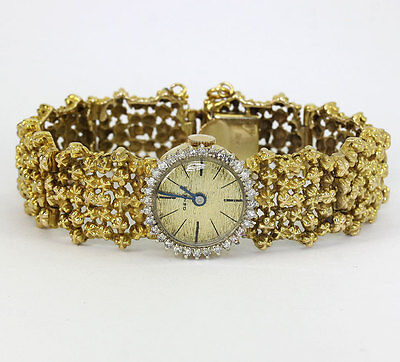 Geneve diamond watch ladies 14K yellow gold mechanical mesh