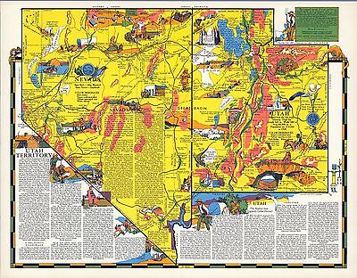 1940 UTAH NEVADA state pictorial map history folklore whimsical POSTER Aitchison