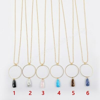 "5Pcs 30"" Multi-kind Stone Faceted With Circle Gold Plated Long Necklace HG1393"