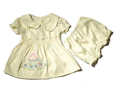 Baby Girls Short Sleeves Party Dress Bloomers Pink Green Yellow 0-12 Months