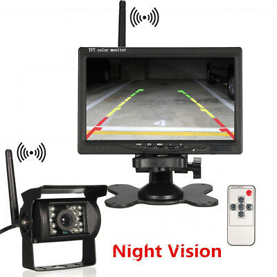 "Wireless IR Rear View Backup Camera Night Vision + 7"" Monitor For RV Truck Bus"