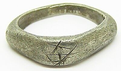 """Ancient Roman Silver Finger Ring """"Fishers of Men"""" c. 3rd century A.D."""