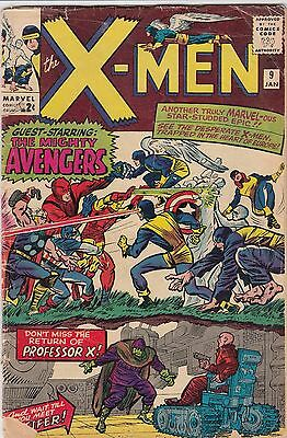 X-MEN #9 (1965) Marvel Comics Avengers crossover VG+