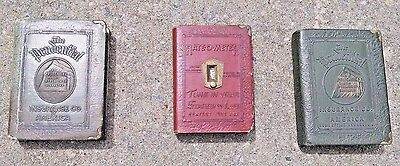 Three Antique Prudential Insurance Company Metal Book Style Banks * With Key! *