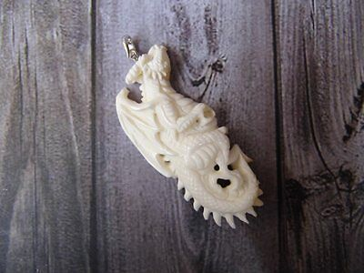 Pendant Necklace Europe Dragon From Buffalo Bone Carved with Silver 925_x522