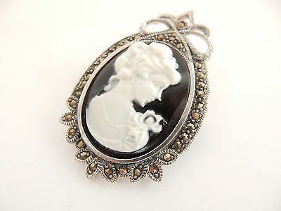 Sterling Silver & Marcasite Carved Lady Cameo Pendant Brooch Hallmarked
