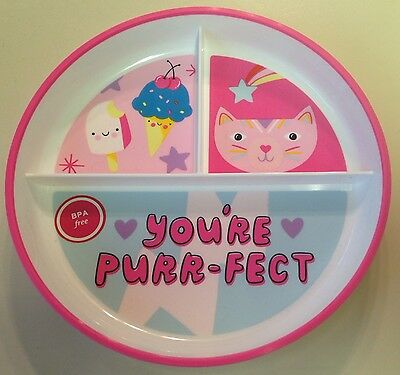 """Target Brand Kitty Cat Divided Plate-You're Purrfect-Bpa Free-7¼""""-Nwt!"""