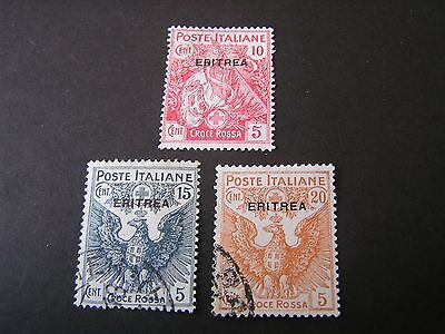 *eritrea, Scott # B1-B3(3), 1915-16 Complete Set Semi-Postal Issue Used