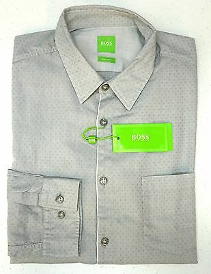 6731360cf Orig $155 Hugo Boss Shirt LS Mens L C-Barnaba 50330846 059 Regular Fit Gray