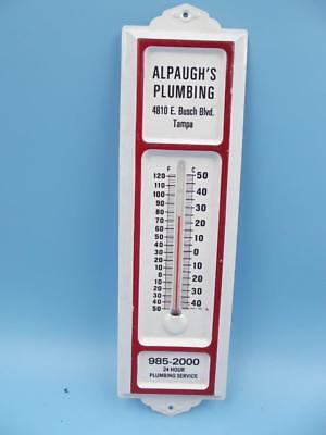 ALPAUGH'S PLUMBING Tampa, Florida VINTAGE OLD  WALL THERMOMETER