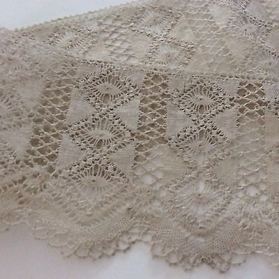 "Handmade Fagotted Lace 13 + yards 3 1/4"" wide"