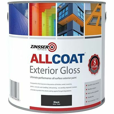 Zinsser Allcoat Multi-Surface Self-Primer Exterior 8 Year WB Gloss Black 5L
