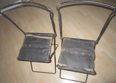 Vtg. Antique Victorian Era 1800's Pair Of Folding Metal Leather Canvas Chairs