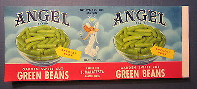 Wholesale Lot of 100 Old 1950's - ANGEL Brand - CAN LABELS - GREEN BEANS