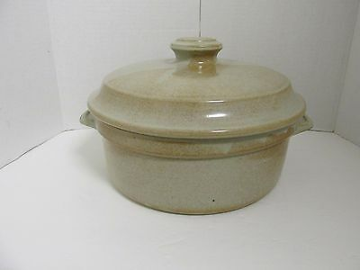 Vintage Stoneware Pottery Large Bowl With Lid Brown Euc