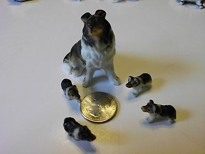 Vintage Ceramic Bisque Miniature Collie Family Figurines Lot Of 5 • $17.67