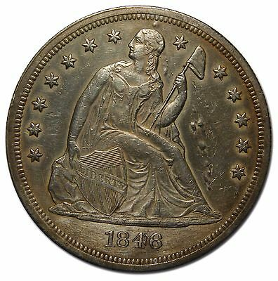 1846 Seated Liberty Silver Dollar $1 Coin Lot# MZ 4560
