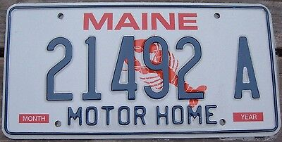 MAINE LOBSTER  Motor Home  License plate  21492 A    MINT Unused condition   ^