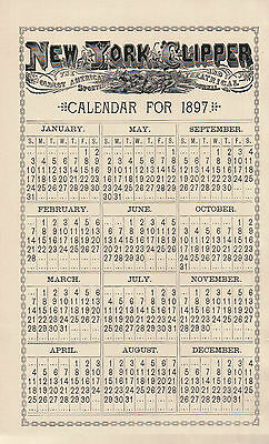 1897 New York Clipper Calendar Page from Annual Journal