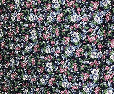 2 1/3 Yards Of Ozark Calicos By Fabri-Quilt Blue With Blue & Pink Floral Cotton