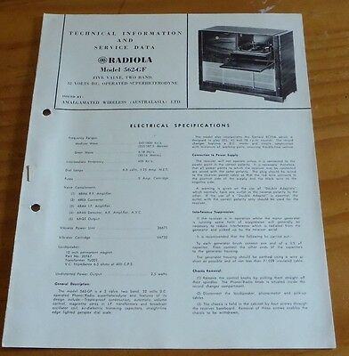 Technical & Service Data Brochure for AWA Radiola Model 562-GF 1954 radio
