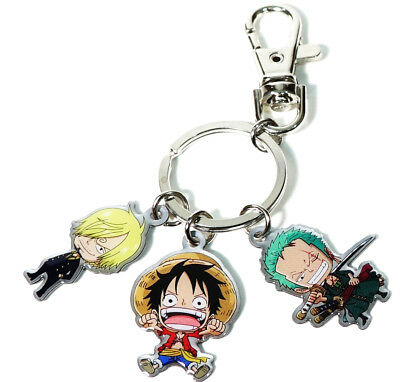 One Piece SD Chibi Zorro Luffy & Sanji Metal Key Chain Official Licensed New