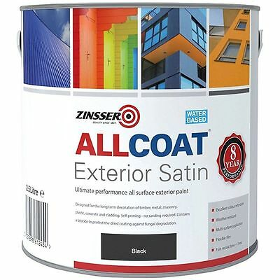 Zinsser Allcoat Multi-Surface Self-Primer Extérieur 8 An Wb Satin Noir 2.5L