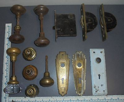 Vintage Antique Door Knob Lot Brass Glass Locks Plates