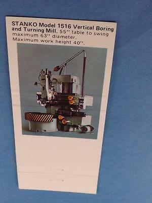 Stanko 1516 Vertical Boring Turning Mill Stan-Canada Machinery Toronto Matchbook