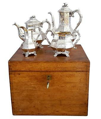Antique Victorian Silver 4 Piece Teaset In Oak Case - 1843 - Angell & Angell