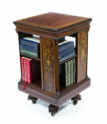 Antique Mahogany Inlaid Revolving Bookcase c.1890