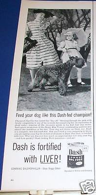 1953 Kerry Blue Terrier Champ Gus Gus Dash Food Ad
