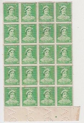 Stamps Australia 1d green die 2 queen mother perfin VG marginal block of 20, pip