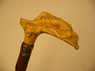 Vintage Cane Walking Stick Carved Handle Reclining Woman on Lion Rug
