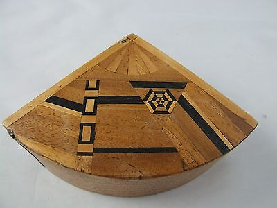 Inlaid antique Japanese box, Fan shape